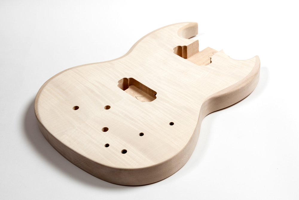 BASSWOOD WITH FLAMED MAPLE TOP SG BASS BODY
